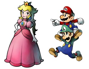 Princess Peach, Mario, and Luigi