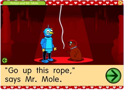 """Go up this rope,"" says Mr. Mole."