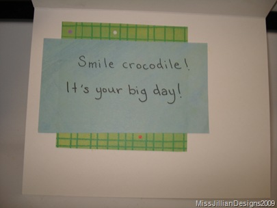 Smile Crocodile - birthday card - inside