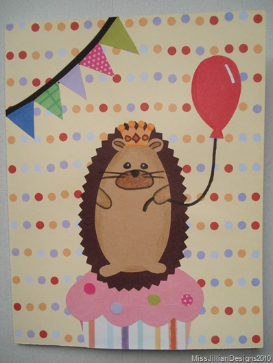 Hedgehog King birthday card - FRONT