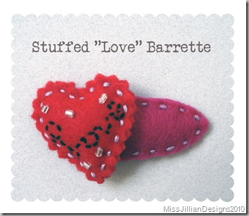 "Stuffed ""Love"" Heart Barrette"