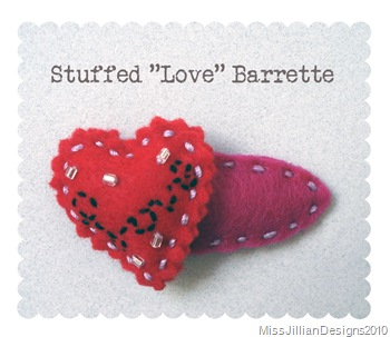 "Stuffed ""Love"" Barrette"