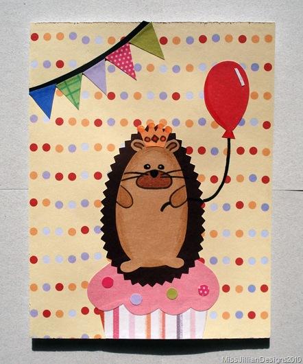Hedgehog Queen Birthday Card - Front