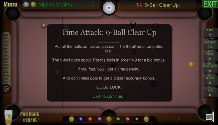 Time Attacks - American 9-Ball Pool - Screen Shot
