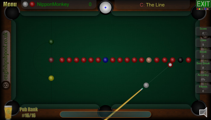 Snooker Challenge - The Line - Pub Snooker - Screen Shot