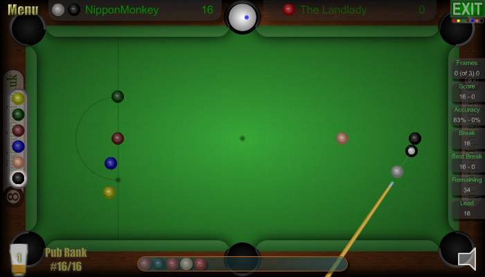 Snooker Aiming Cursor - Changes Colour So You Always Know What Ball To Play - Pub Snooker - Screen Shot