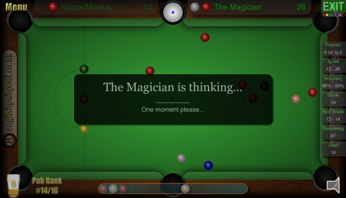 Snooker Computer Players - Excellent AI - Pub Snooker - Screen Shot