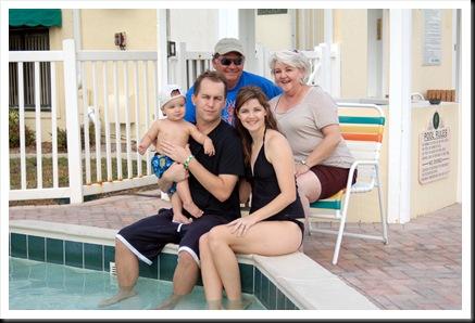 family pic at pool