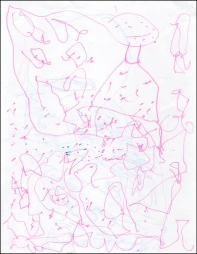 Preschooler Artwork, G-girl with polkadots and hundreds of feet.