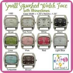 Small Squashed Watch Face with Rhinestones