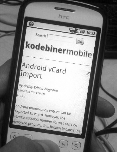 Kodebiner mobile friendly mode on HTC Magic