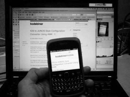 Kodebiner mobile friendly mode on Blackberry OS 6