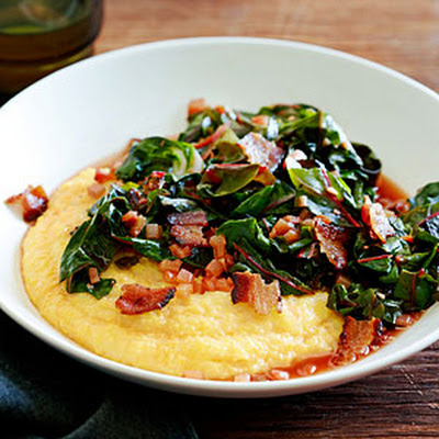 Spicy Rainbow Chard with Bacon and Polenta