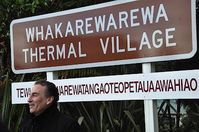 guide at Whakarewarewa Thermal Village, Rotorua, NZ
