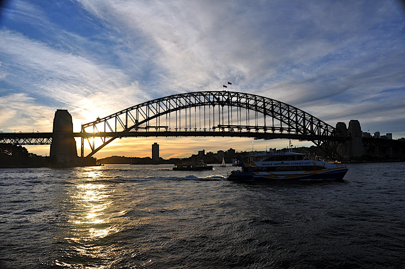 setting sun on Sydney Harbour Bridge
