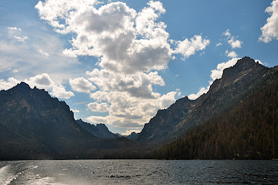 Sawtooth Mountains with boat spray as seen from shuttle boat on Redfish Lake
