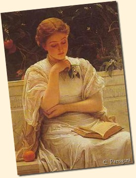 Charles Perugini. Girl reading a book