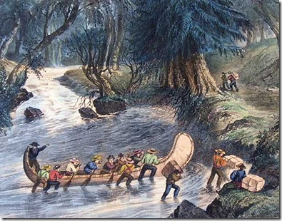 Canadian Voyageurs, Walking a Canoe Up a Rapid - Currier & Ives, c1860