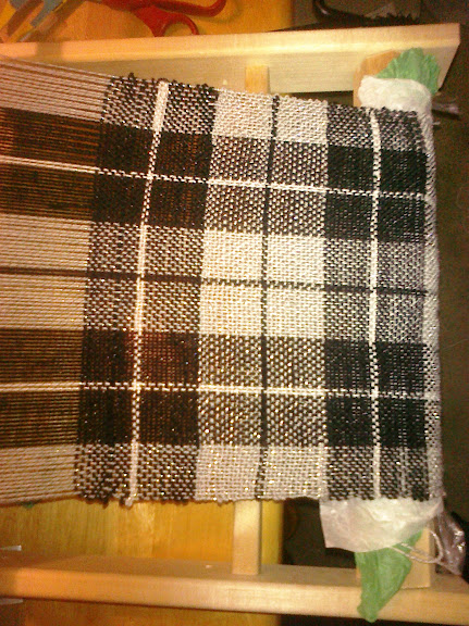 plaid cloth on loom