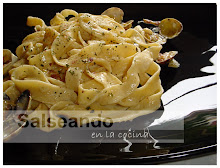"""Pappardelle. Pasta casera al huevo, a la """"carbonara"""" de almejas"""