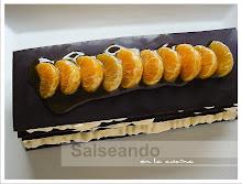 Milhojas de chocolate y mousse de naranja