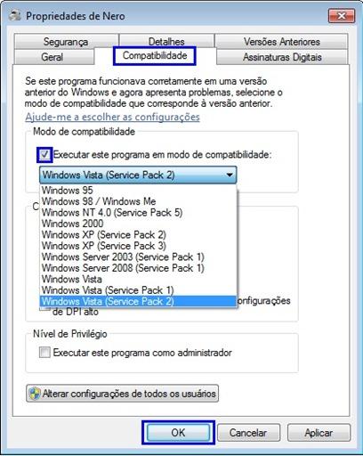 Compatibilidade do programa