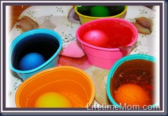 Eggs in colored water