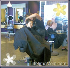 T's first professional haircut