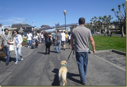 Reyna walking in the crowds at Fisherman's Warf.