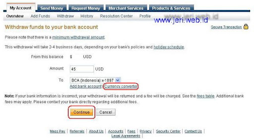 Withdraw funds to your bank account