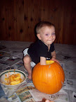 Aspen's first pumpkin carving!