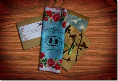 unique-save-the-dates-vintage-chic-handkerchiefs-floral-design-blue-pink-red-roses