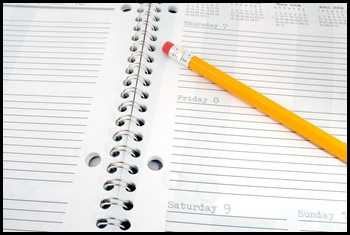 Pencil and day planner