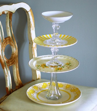 repurposed plates tiered stand