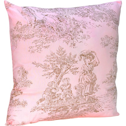 Pink and Brown French Toile Throw Pillow