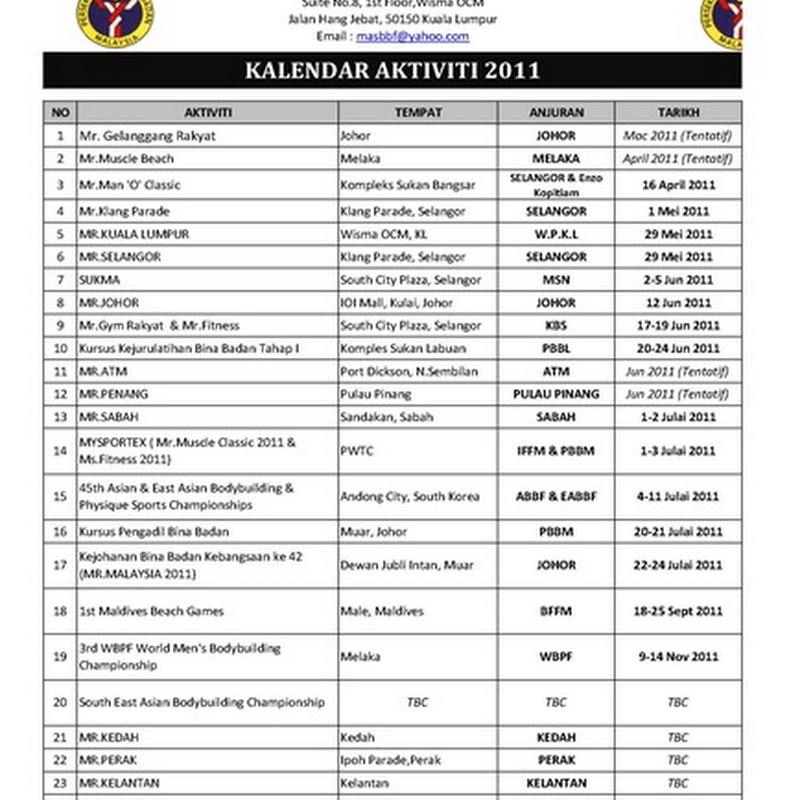Jadual pertandingan bina badan 2011