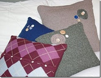 embellished sweater pillows