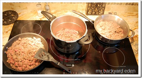 Many pans of ground beef