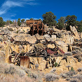 Ruins of the Pittsburg-Liberty Mill, also known as the Stall Brothers mill. It was connected to the mine across Masonic Gulch by an arial tramway.