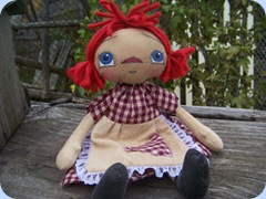 MY RAGGEDY DOLLS burgandy checked annie 10-22-09