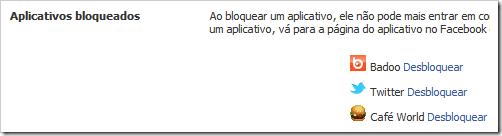 Aplicativos bloqueados