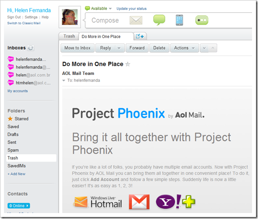 Caixa postal do Aol Phoenix