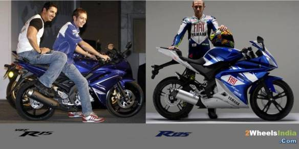Valentino Rossi with the R15 and R125