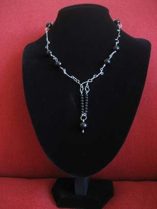 Silver and Black  Necklace