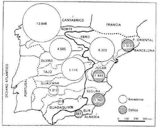 Excedentes hídricos en las vertientes hidrográficas españolas