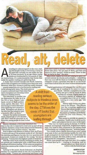 Times of India - Chennai Times - Pg1 13 Nov 08