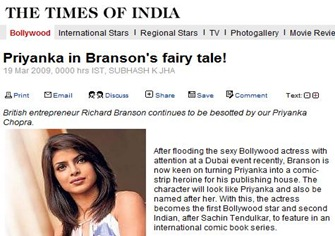 Priyanka Chopra Comics News Mar09