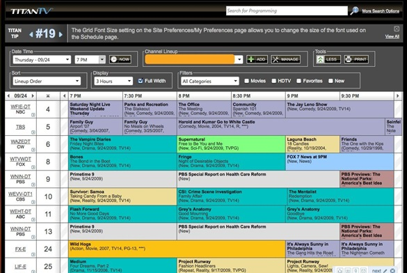TitanTV - Free Customizable TV Listings