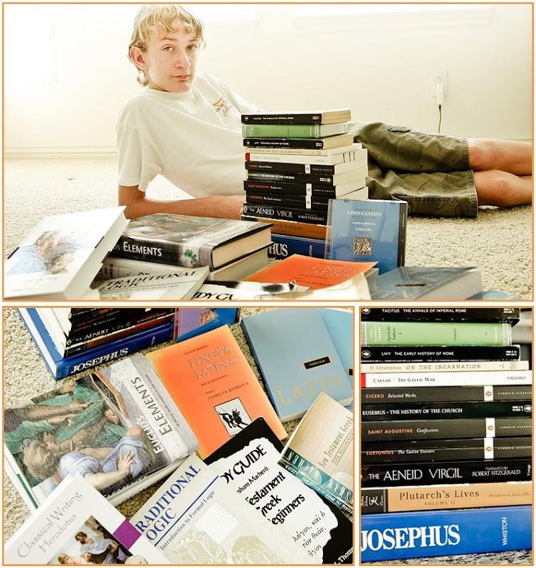 freshman book pile
