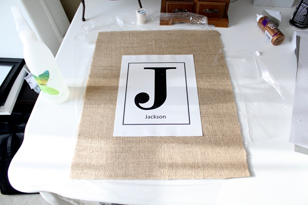 burlap and monogram